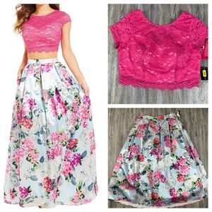 NWT Teeze Me Lace Top & Floral Skirt Pink Blue